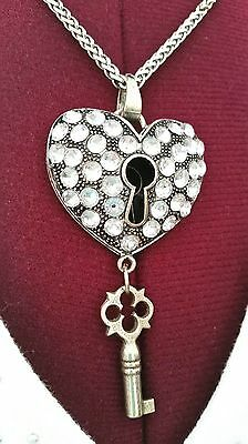 Chunky Steampunk Necklace 3-D Heart with Keyhole and Antique 1940's Barrel Key