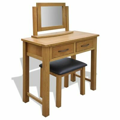 B#Oak Wooden Dressing Table Vanity Unit Makeup Desk 2 Drawers with Stool/Mirror