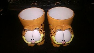 Garfield the Cat Full figurine Coffee Cup *RARE*, *UNIQUE*, Set Of 2