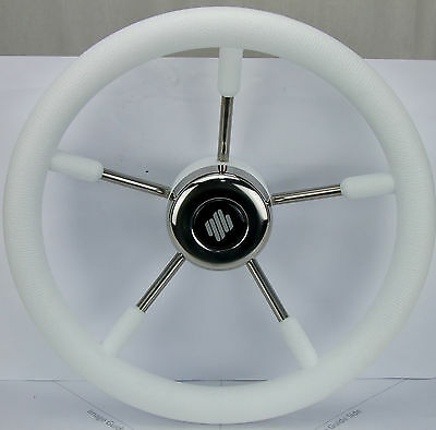 Boat Steering Wheel SS with White Grip 350mm Diameter Non Magnetic Wheel
