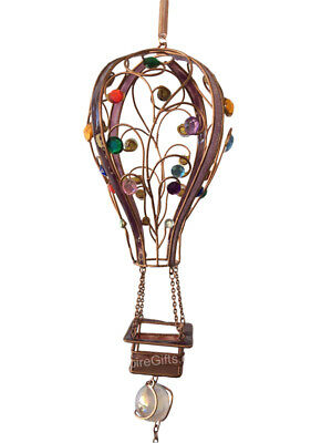 1 X Hot Air Balloon Wind Chime With Gems Garden Hanging Mobile