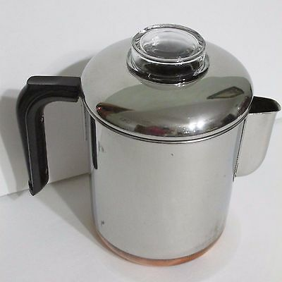 Revere Ware Stainless Copper Clad Stove Top Coffee Pot Percolater Complete