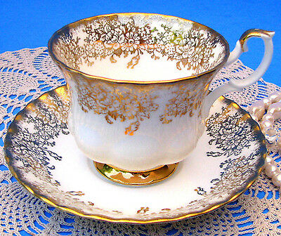Royal Albert White & Gold Floral Chintz Teacup & Saucer Fluted Tea Cup & Saucer