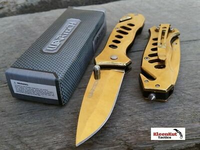 """NEW 6.5"""" SPRING ASSISTED Open TACTICAL POCKET KNIFE GOLD BLADE w/ Glass Breaker"""
