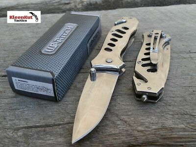 "6.5"" SPRING ASSISTED Open TACTICAL POCKET KNIFE SILVER BLADE w/ Glass Breaker"