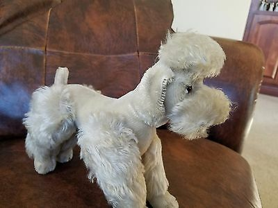 "Steiff Snobby Poodle Dog Brown/Gray Mohair Plush Jointed  11"" legs extended"