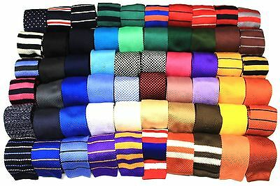 """Mens Knit Knitted Neck Tie Woven Slim Square 2.5"""" 57-60 - Many Colors And Styles"""