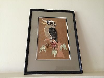 Vintage Australiana Framed Needle Work Kookaburra Picture