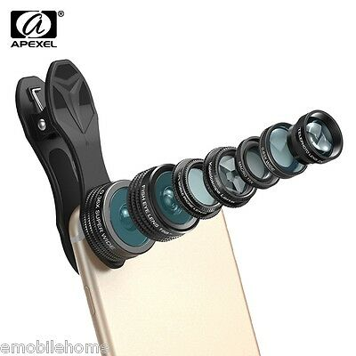 Apexel APL-DG7 7 in 1 Clip External Phone Camera Kaleidoscope 15X Macro Lens Kit