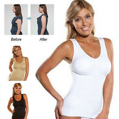 Womens Seamless Body Shaping Camisole Shapewear with built in Genie Bra Vest Us
