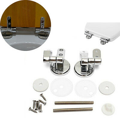 Replacement Chrome Toilet Seat Fixings Set Hinges Set + Fittings Repair Tool Kit