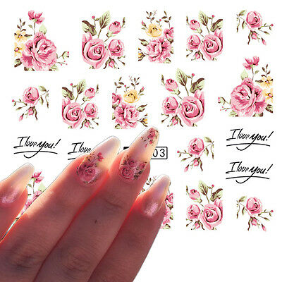 5 Sheets Nail Art Water Transfer Decals Stickers Pink Rose Design Sticker DIY