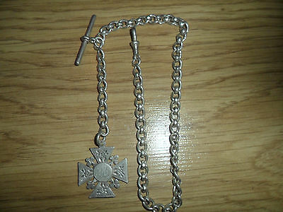 """Antique 925,solid Silver Albert Pocket Watch Chain"""" T/bar & Fob, 43.09,gms,"""
