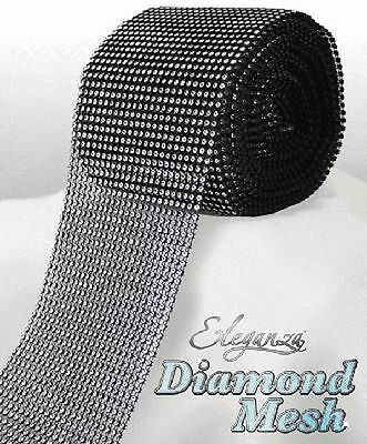 Black & Silver Diamante Rhinestone Effect Bling Mesh Cake Trim Ribbon Wedding