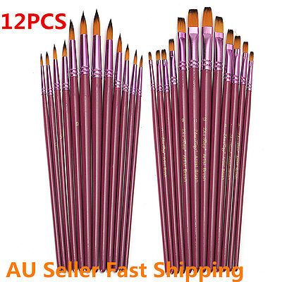 12 Artist Art Craft Paint Pointed Brush Set Oil Watercolor Acrylic Drawing Pen