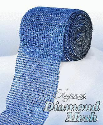 Royal Blue Diamante Rhinestone Effect Bling Mesh Cake Trim Ribbon Wedding