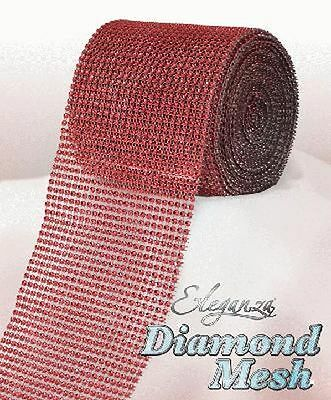 Red Diamante Rhinestone Effect Bling Mesh Cake Trim Ribbon Wedding