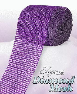 Purple Diamante Rhinestone Effect Bling Mesh Cake Trim Ribbon Wedding