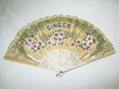 Antique Singer Sewing Hand Fan Advertising