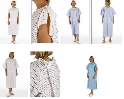 Unisex NHS Patient Hospital Gowns Multilisting White, Blue, Wrap, Ties Reusable