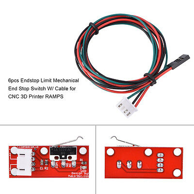 6pcs Mechanical Endstop End Stop Limit Switch+Cable For CNC 3D Printer RAMPS 1.4