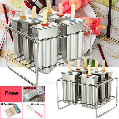 6 Cells Stainless Steel Ice Cream Pop Mold Ice Lolly Popsicle Bars Stick Holder