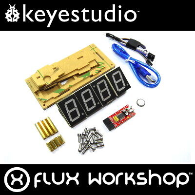 Keyestudio Smart Clock Kit KS0201 DIY Temp Red Acrylic Arduino Flux Workshop