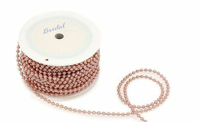 Rose Gold 4mm  Pearl Beading - Cakes Wedding Trim Crafts