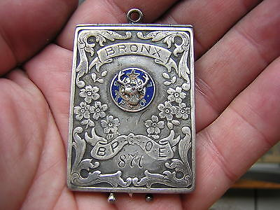 Ornate Antique Vintage Enameled Sterling Silver Elks Club Card Case Bronx Ny