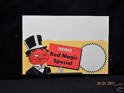 Vintage Grocery Store Cardboard Triangle Sale Sign Heinz Red Magic Spacial