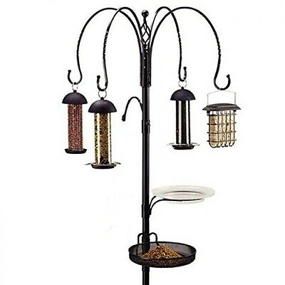 Wild Bird Feeder Feeding Station Metal Outdoor Garden Stand with 4 Feeders