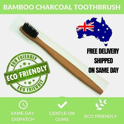 BAMBOO CHARCOAL Toothbrush Bamboo Oral Care Eco Dental Adult Medium Teeth Smile