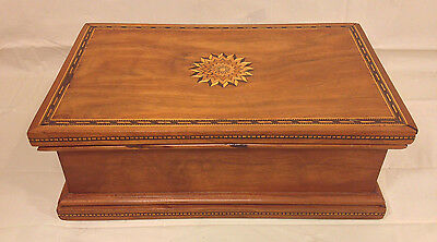 Vintage Inlaid Humidor Walnut Case Lined Interior Star Inlay Piece on Top