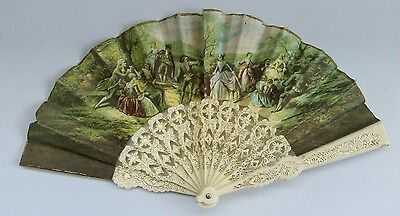 Vintage 1970s Child's Hand Held Fan Folding 19th Century Scene Romantic Art