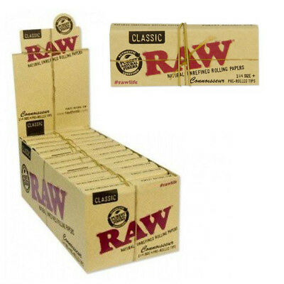 24 RAW Classic Connoisseur 1 1/4 Rolling Papers & Pre-Rolled Tips Full Box