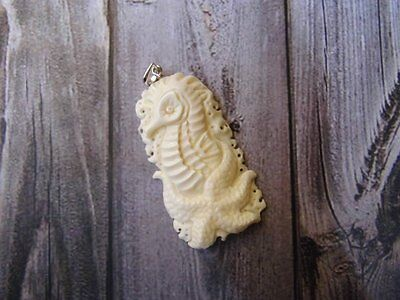 Pendant Necklace Sea Horse Star From Buffalo Bone Carved with Silver 925_w717