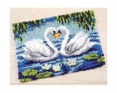 Vervaco Swans Latch Hook Rug Kit Multi-Colour