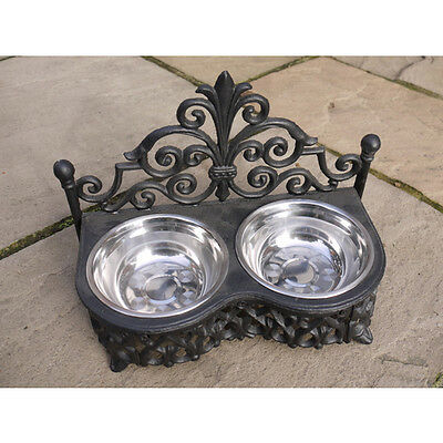 Double pet dog food bowls stainless steel black heavy ornate cast iron brand new