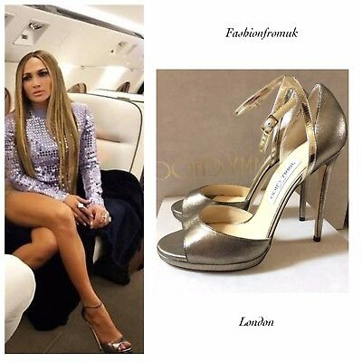 SALE! JIMMY CHOO PEARL Gold- Leather sexy ankle strap Heels 39.5