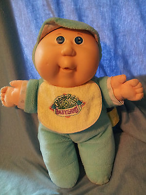 Cabbage Patch Babyland Kid Collection 1989 Hasbro Blue bibbed Boy Doll Rattles