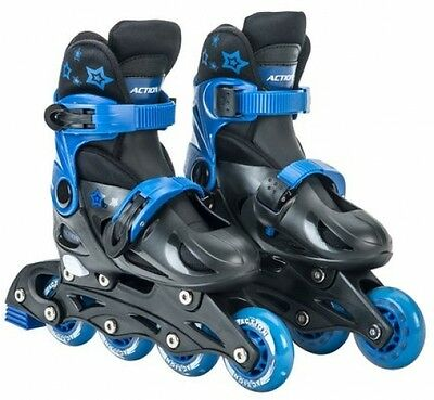 NEW Adjustable Inline Rollerblades Skates 4 7 Size Blue Black Skating Pro Kids