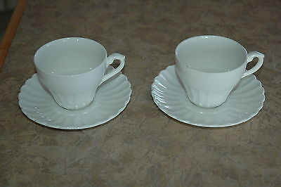 """J & G Meakin - England - CLASSIC WHITE - Cups & 6"""" Saucers (2 ea) w/ FLAWS!"""