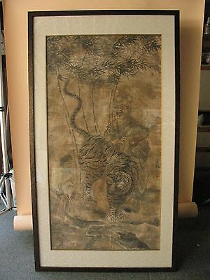 old collection KOREAN painting Artist signed art ink paper Korea tiger man huge