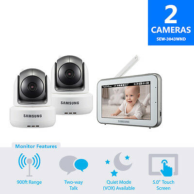SEW-3043WND -Samsung 5.0in Wireless Touch Screen Baby Monitor w/ 1 Extra Camera