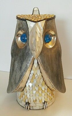 LOS CASTILLO Taxco Signed Mother Pearl Inlay Silver Plated Owl Bird Pitcher Jug