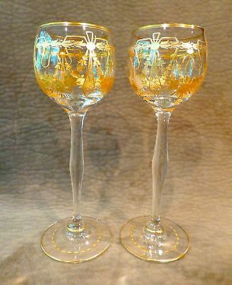 Vintage Wine Glass Pair With Acid Etched Design And Ornate Gold Decoration