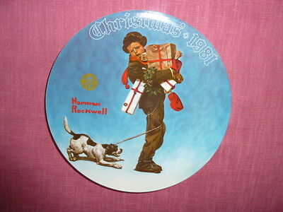 """Norman Rockwell 8"""" Limited Edition Christmas Plate 1981 by Knowles Fine China"""