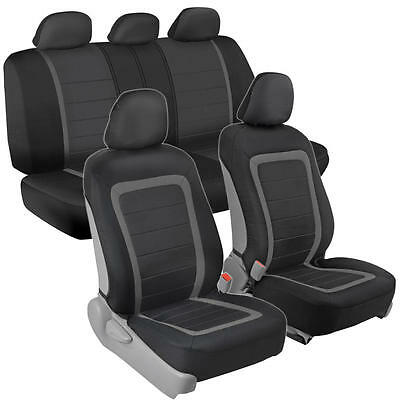 Sideless Polyester/Mesh Seat Covers for Car SUV Auto Black/Gray Full 9pc Set