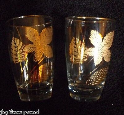 2 Vintage Libbey Gold Leaf Tumbler Glasses - 8 Oz. - Evc - Beautiful!