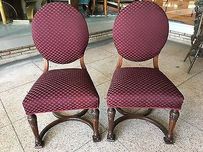 Vintage Pair Victorian Revival Side Chairs- New Maroon Upholstery